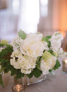 white peony and hydrangea centerpiece | Kate Headley