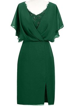 ORIENT BRIDE Modern Scoop Short Sleeve Sheath Mother of the Bride Dresses Size 2 US Dark Green