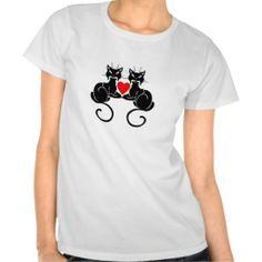 A Black Cat Love Tee Shirt