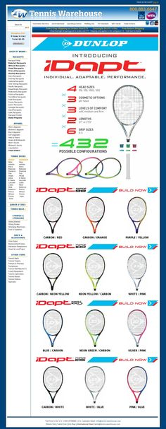 Introducing #Dunlop iDapt tennis racquets, 432 different customization possibilities to create your perfect frame!
