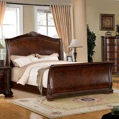 Penbroke Antique Baroque Style Brown Cherry Finish Bed Frame Set