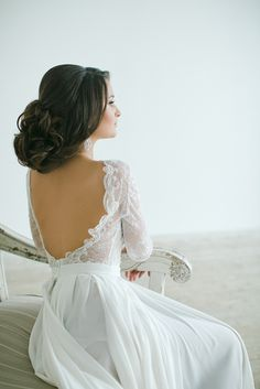 Stunning Backless Wedding Dress   Warmphoto   Exquisite Bridal Styling for a Modern Glam Wedding Day