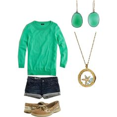 Sea green and sperrys :)  So cute!