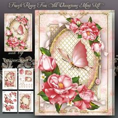 Fresh Roses For All Occasions Mini Kit: 4 sheets for print with decoupage for 3D effect plus few sentiment tags (for your own personal text)    NOTE:  For customers who do not like butterflies!  Insert side does not include butterflies.