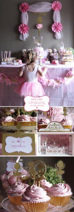creatura: ¡Arriba el telón! Bailarinas, purpurina, tutus... todo listo para La Mesa dulce del tercer cumpleaños de Marina