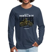 Men's Premium Long Sleeve T-Shirt - Eastside – Affinity Home Vibes Types Of Printing, Fabric Weights, Heather Grey, Long Sleeve, Sleeves, Sports, Cotton, Mens Tops, T Shirt