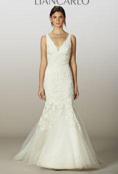Liancarlo - Spring 2013 - Style 5843 Sleeveless Lace and Tulle Drop Waist V-Neck Mermaid Wedding Dress  