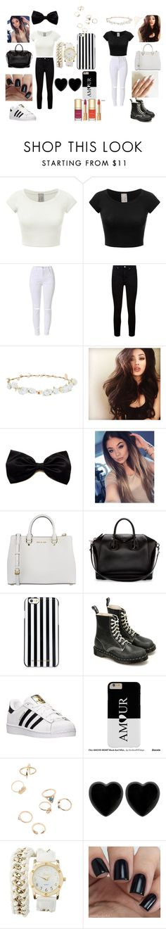 """Black and Whiite"" by fashion-babygirl-101 on Polyvore featuring Paige Denim, Robert Rose, MICHAEL Michael Kors, Givenchy, Dr. Martens, adidas, Dollydagger, Charlotte Russe, Dolce&Gabbana and GetTheLook"