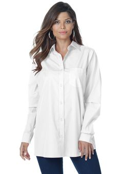 Our easy care boyfriend plus size bigshirt is designed in your favorite silhouette.  you'll love how this shirt fits: with a chic trapeze  shape created to minimize the waist and hips, it A-lines away from the body giving plenty of room for a flawless and effortless fit features a drop shoulder armhole with a relaxed fit, giving extra room at the bust and shoulder for effortless style button front is ultra flattering and the buttons were designed to easily open and close breast pocket ...