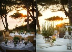 A Greek Flavored Wedding Party @ Island by De Plan V. white linen tablecloths, napkins, pots with greek herbs! Wedding Decorations, Table Decorations, Wedding Events, Weddings, Mother Earth, Rustic Wedding, Bridal Shower, Greek, Romance