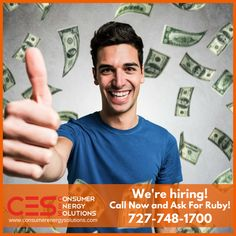 Consumer Energy Solutions is looking for #new members to join our team! Call 727-748-1700 today, ask for Ruby!   Apply online at: http://www.consumerenergysolutions.com/jobs/?utm_content=buffer81fe0&utm_medium=social&utm_source=pinterest.com&utm_campaign=buffer  #CES #Jobs #Hiring #Money #Sales