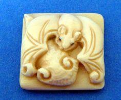 Antique Mammoth Ivory Japanese Ojime Bead Netsuke Cute Bat.