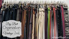 DIY Belt Organization (on a budget! - DIY Belt Organization (on a budget!) ~ Diane's Vintage Zest! Closet Organization, Jewelry Organization, Belt Hanger, Hangers, Diy Belts, Master Closet, Master Bedroom, Getting Organized, Tricks