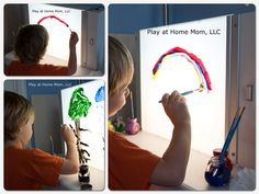 lights, at home, idea, kid activ, paint, easel, art supplies, light table, toddler activities