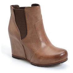 """Kork-Ease 'Neville' Wedge Chelsea Boot, 3 1/2"""" heel (4 795 UAH) ❤ liked on Polyvore featuring shoes, boots, ankle booties, ankle boots, desert leather, high heel boots, leather wedge booties, short leather boots and wedge booties"""