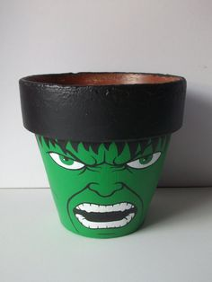 Incredible Hulk Avengers Large Painted Flower Pot by GingerPots, $20.00                                                                                                                                                     Mais