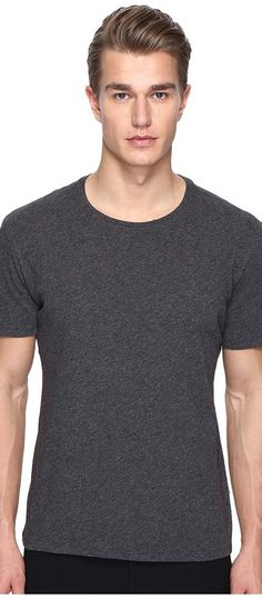 ATM Anthony Thomas Melillo Classic Jersey Crew Neck Tee (Charcoal Heather) Men's T Shirt - ATM Anthony Thomas Melillo, Classic Jersey Crew Neck Tee, AM4060-EP-021, Apparel Top Shirt, T Shirt, Top, Apparel, Clothes Clothing, Gift, - Fashion Ideas To Inspire