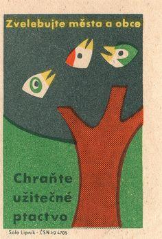 Vintage Czechoslovakian Matchbox – birds in tree