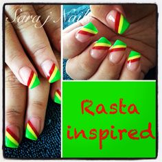 Acrylic Nail Design Rasta Colours