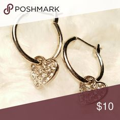 GENUINE CRYSTAL EARRINGS Each heart is adorned with crystals.  These are beautiful earrings.  Silver tone.... NWOT Jewelry Earrings