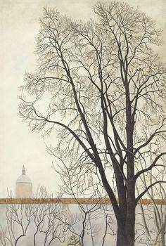 Léon Spilliaert (Belgian, 1881-1946), De boom voor de muur en het torentje [Tree by the wall and turret], 1941. Watercolour, gouache, pencil and India ink on paper, 50.2 x 34.3 cm