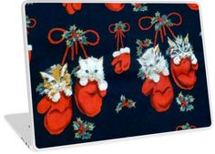 Cute Christmas Kittens In Mittens | Design available for PC Laptop, MacBook Air, MacBook Pro, & MacBook Retina