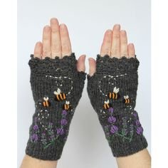 Knitted Fingerless Gloves, Lavender, Bees, Clothing and... (€82) ❤ liked on Polyvore featuring accessories, gloves, lace fingerless gloves, fingerless mitten gloves, lace gloves, fingerless mittens and fingerless gloves