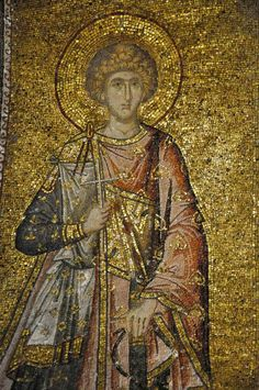 The Chora - full length mosaic of a martyr Byzantine Art, Byzantine Mosaics, Fall Of Constantinople, Roman Art, Historical Art, Orthodox Icons, Sacred Art, Western Art, Ancient Art