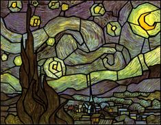 Van Goghs paintings as stained glass-looks like digital art rather than actually glass