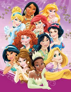 Disney Princesses - Sparkling Beauty Featuring: Snow White Cinderella Aurora Ariel Belle Jasmine Pocahontas [EXCLUSIVE] Mulan [EXCLUSIVE] Tiana Rapunzel Merida ©Disney -- All the characters, and im...