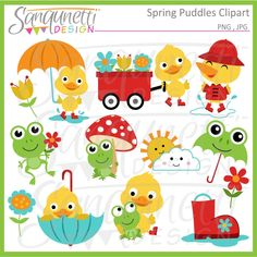 Spring Rain Puddles Clipart: Sanqunetti Design: quality commercial use clipart and illustration. Cute Inspiration for cookie decorating!