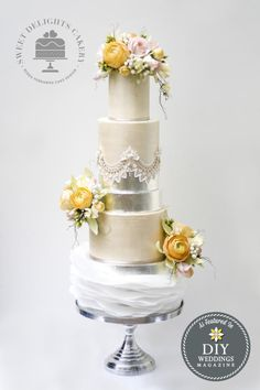 Modern Elegance - Cake by Sweet Delights Cakery Floral Wedding Cakes, Wedding Cakes With Flowers, Elegant Wedding Cakes, Wedding Cake Designs, Cake Flowers, Flower Cakes, Wedding Ideas, Sugar Flowers, Beautiful Wedding Cakes