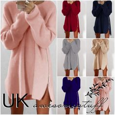 Uk #womens long #sleeve #pullover sweater ladies side zip jumper dress size 6 - 1,  View more on the LINK: http://www.zeppy.io/product/gb/2/272417283915/