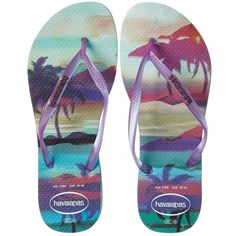 Havaianas Slim Paisage Flip Flops Women's Sandals, Blue ($30) ❤ liked on Polyvore featuring shoes, sandals, flip flops, blue, havaianas, cushioned shoes, blue sandals, slim shoes and flip flop sandals