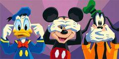 Hear No Evil ((Donald Duck))...  See No Evil ((Mickey Mouse))...  Speak No Evil ((Goofy))...