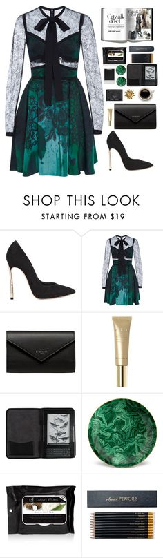 """Only seventeen (description)"" by marianaftmendes ❤ liked on Polyvore featuring Casadei, Elie Saab, Balenciaga, Stila, Polaroid, Cole Haan, L'Objet and Sloane Stationery"