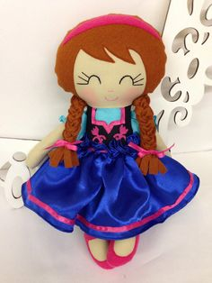 Frozen Anna Handmade Doll MADE TO ORDER Fabric by SewManyPretties, $59.00 #frozen #frozenparty #frozendoll