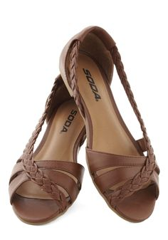 Twist Family Robinson Sandal in Chestnut - Flat, Faux Leather, Solid, Braided, Peep Toe, Brown, Casual, Daytime Party, Variation, Summer