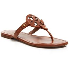 Tory Burch Flat Thong Sandals - Miller (€175) ❤ liked on Polyvore featuring shoes, sandals, flats, vintage vachetta, vintage shoes, flat thong sandals, toe thong sandals, flat pump shoes and laser cut sandals