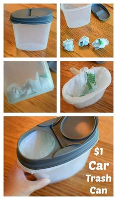 Repurpose a dollar store cereal container as a sealable trash can.