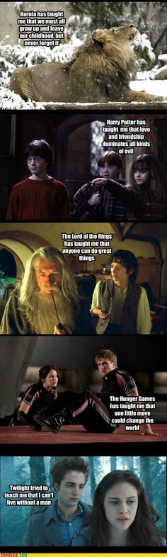 Life Lessons from Chronicles of Narnia, Harry Potter, Lord of the Rings, Hunger Games, and... Twilight?