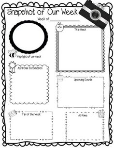 Snapshot of Our Week - Weekly Newsletter Template FREE Class Newsletter, Weekly Newsletter Template, Preschool Newsletter, Preschool Curriculum, Newsletter Ideas, Preschool Plans, Classroom Newsletter, Homeschool, Organization And Management