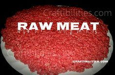 Easy HALLOWEEN food IDEA - Red Velvet Rice Crispy Treats RECIPE - Looks like raw meat…gross but tastes so good. kids party idea