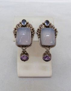 DESIGNER SAJEN STERLING SILVER AMETHYST CHALCEDONY ORNATE CLIP EARRINGS