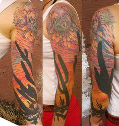 Mojave desert - sleeve tattoo. Like the idea of backlit Cacti, setting sun.