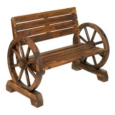 Laze in the shade after a long day; this rustic bench is right at home on patio porch or lawn. Sturdy love seat has ample seating for two with quaint wagon whee