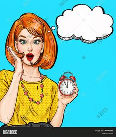 Illustration about Surprised Pop Art girl with clock with thought bubble. Illustration of girl, female, beauty - 74169575 Invitation Fete, Invitation Birthday, Party Invitations, Hollywood, Art Couple, Comics Vintage, Wow Photo, Pop Art Women, Frida Art