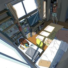 ✮ ANIME ART ✮ anime scenery. . .bedroom. . .amazing detail. . .bed. . .shelves. . .books. . .TV. . .videogames. . .window. . .anime girl. .. perspective. . .cute. . .kawaii