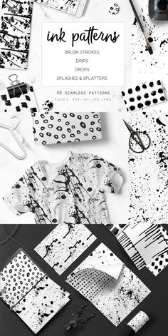 Splashes, splatters, drops, drips and brush strokes. A great Mega set of 40 seamless ink patterns with everything you may need for your projects, I basically got my hands dirty so you don't have to (and it was a big ink splash mess)! All handmade and uniq