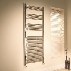 600 x 1700 Beta Heat Straight Chrome Heated Towel Rail  - Stainless Steel Bathroom Radiators - Better Bathrooms